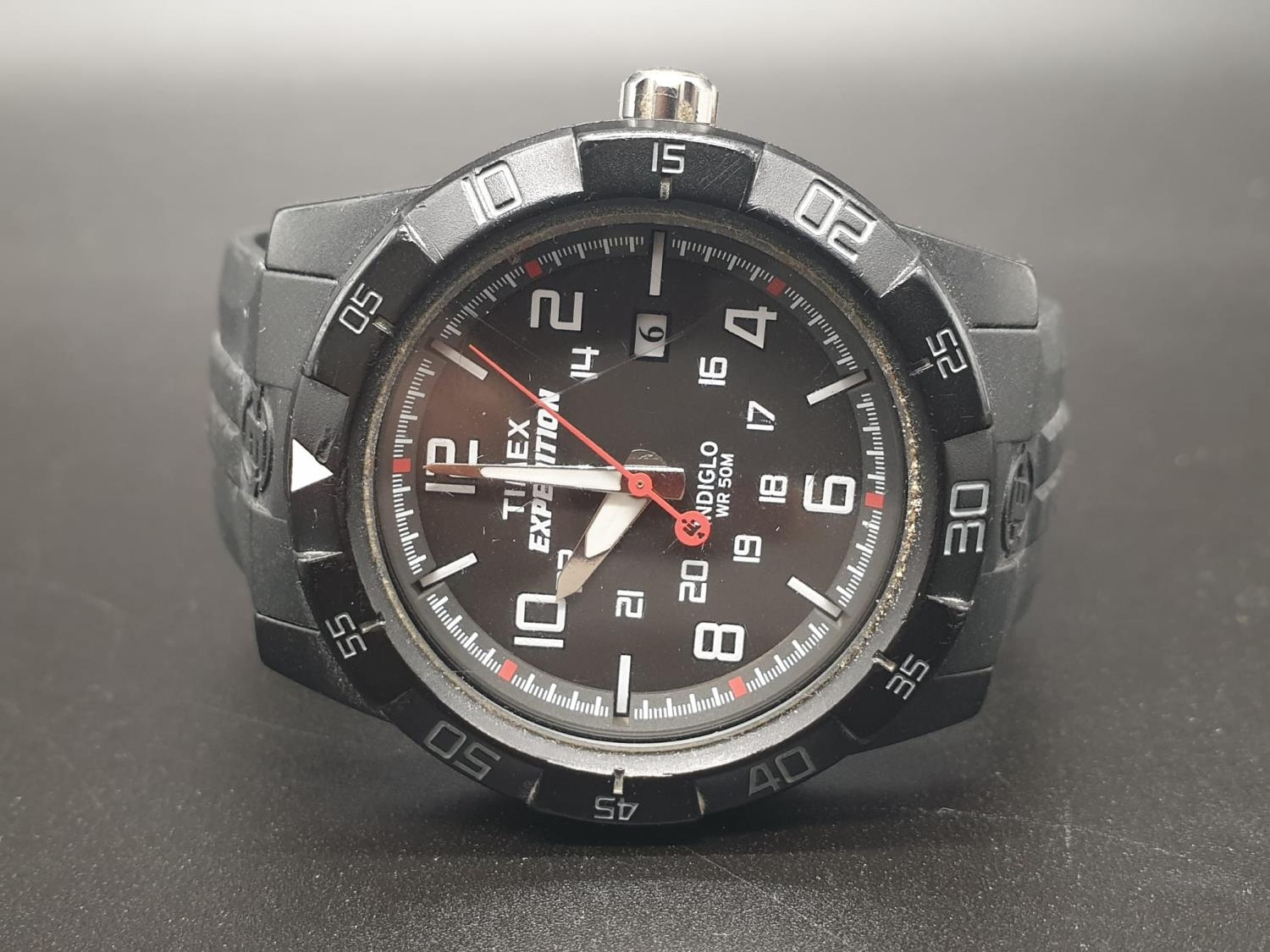 Timex Expedition Watch. Black rubber strap. Black dial. As found. - Image 3 of 9
