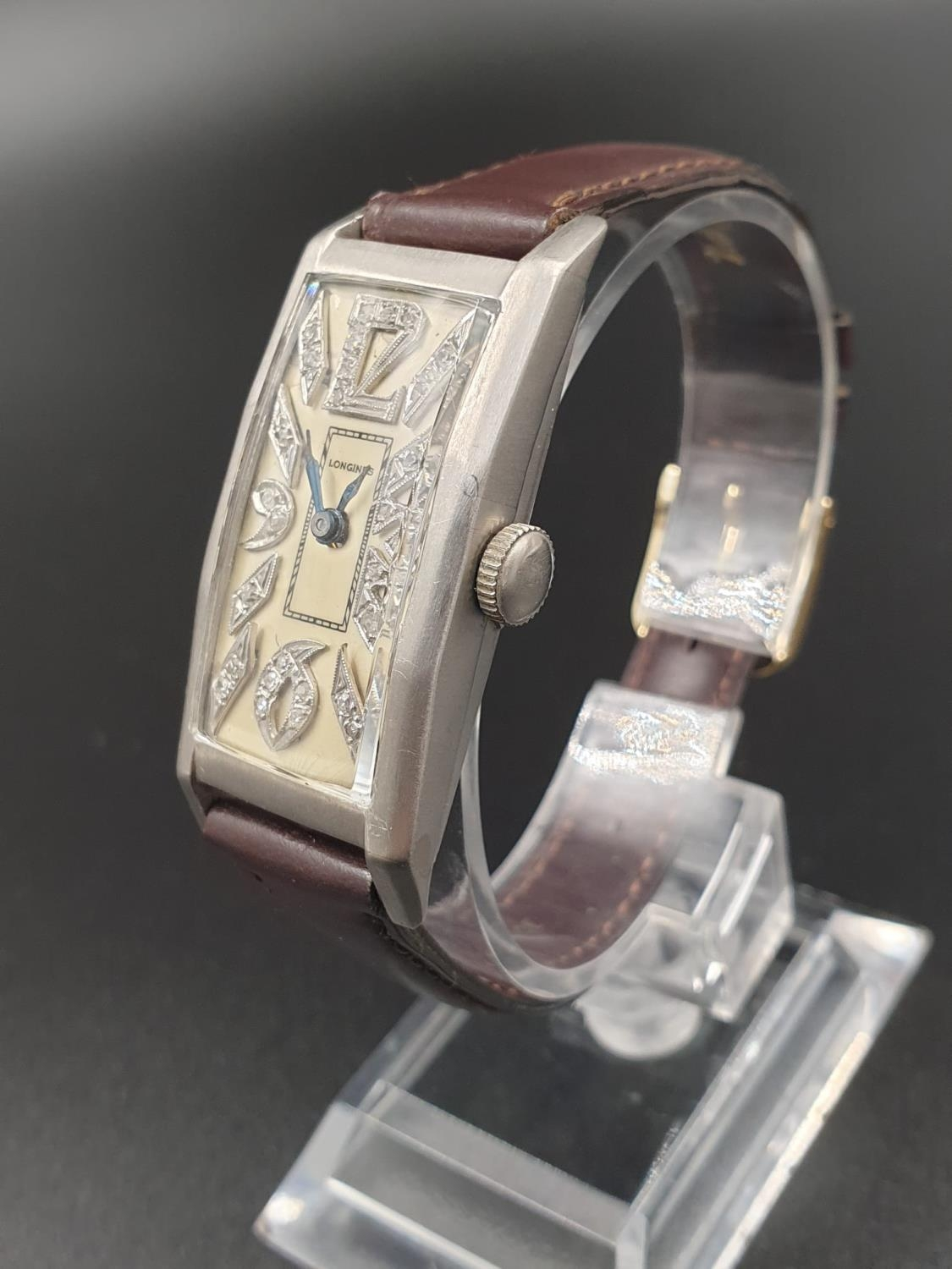 A PLATINUM LONGINES WRIST WATCH WITH DIAMOND NUMBERS. 20mm manual movement. - Image 2 of 9