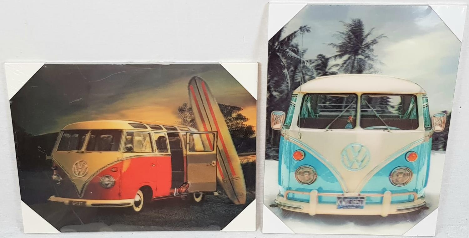A Pair of 3d VW Camper Van Pictures. As new, still wrapped. Backed on wood. 29 x 39cm.