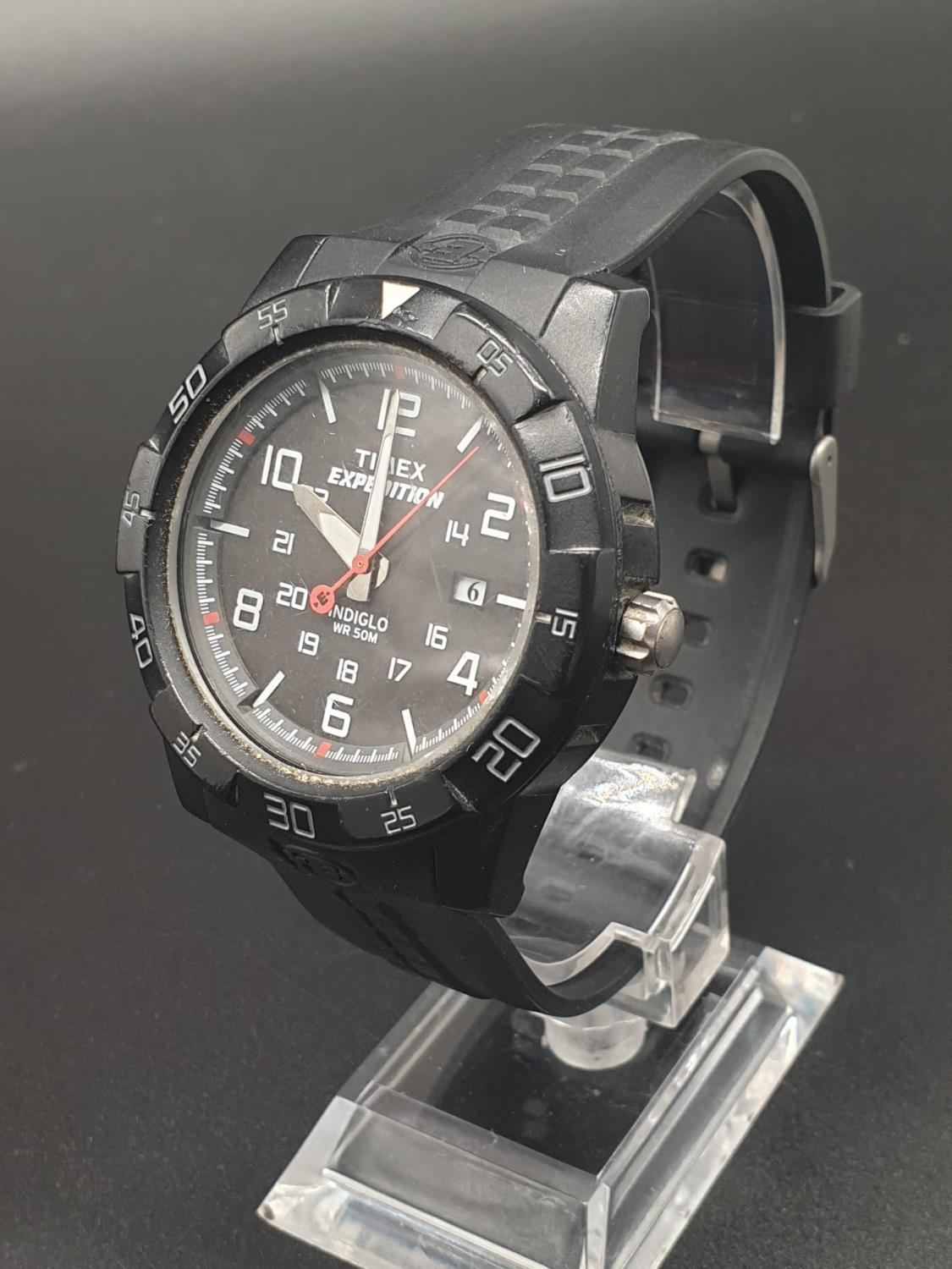 Timex Expedition Watch. Black rubber strap. Black dial. As found. - Image 2 of 9