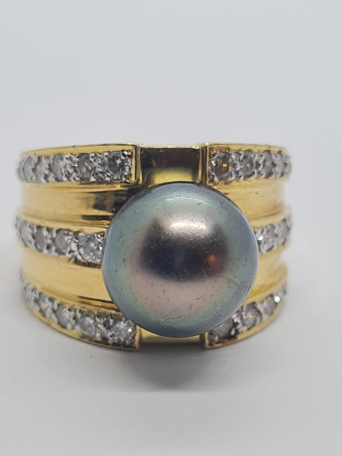 18k yellow gold with Tahitian pearl centre and decorated with 1.50ct diamonds approx, weight 12.8g - Image 7 of 9