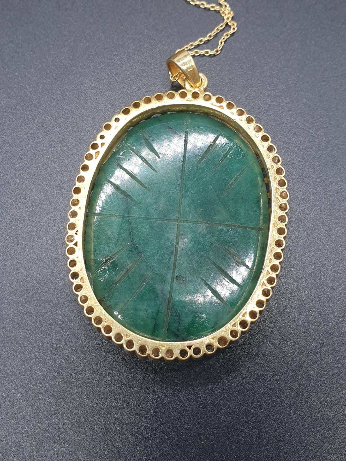 A carved emerald Pendant with a halo of rose cut diamonds in pave setting in sterling silver with - Image 6 of 7