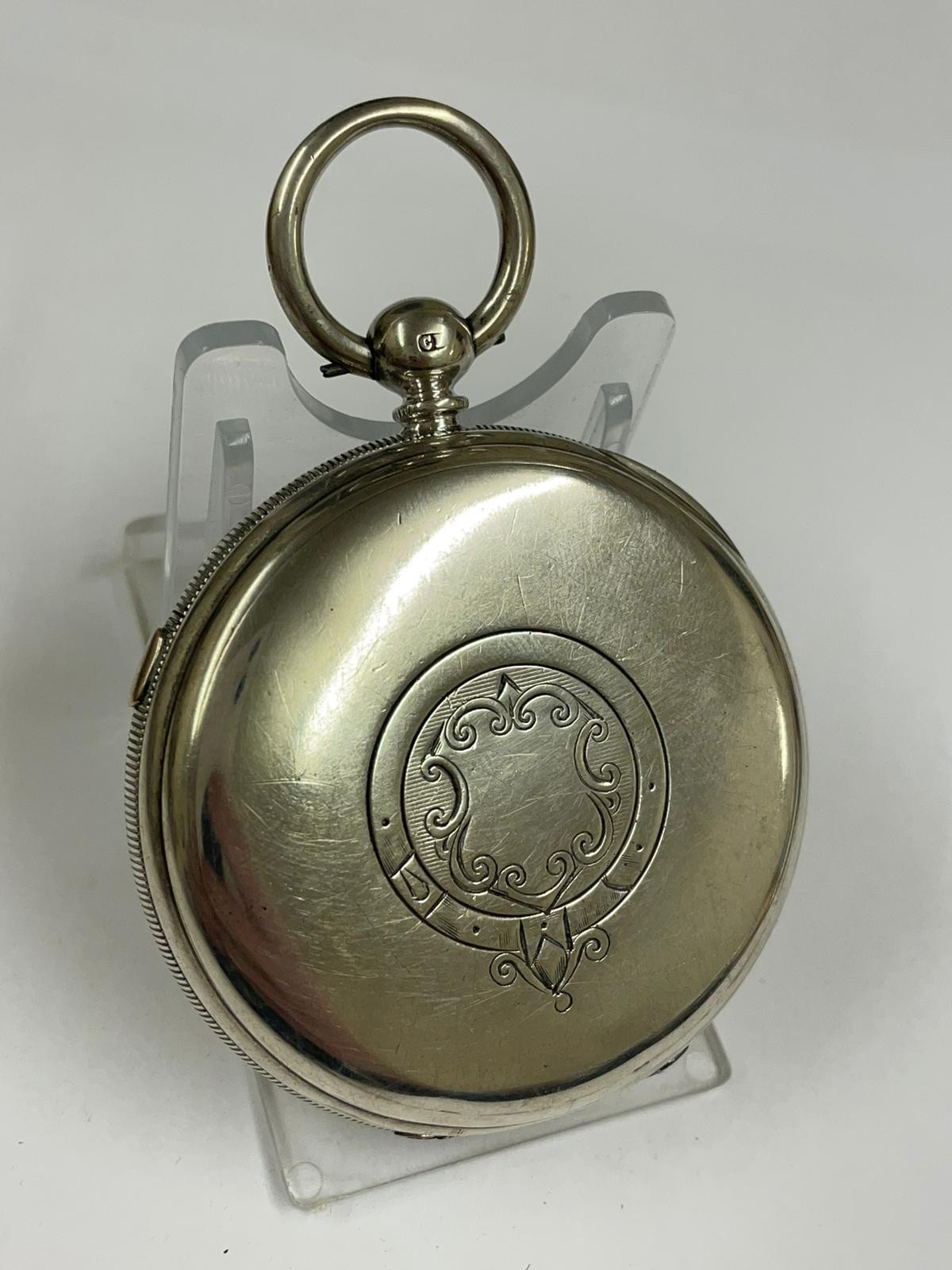 Antique Large silver stop seconds chronograph pocket watch J Harris & sons London & Manchester , - Image 7 of 10