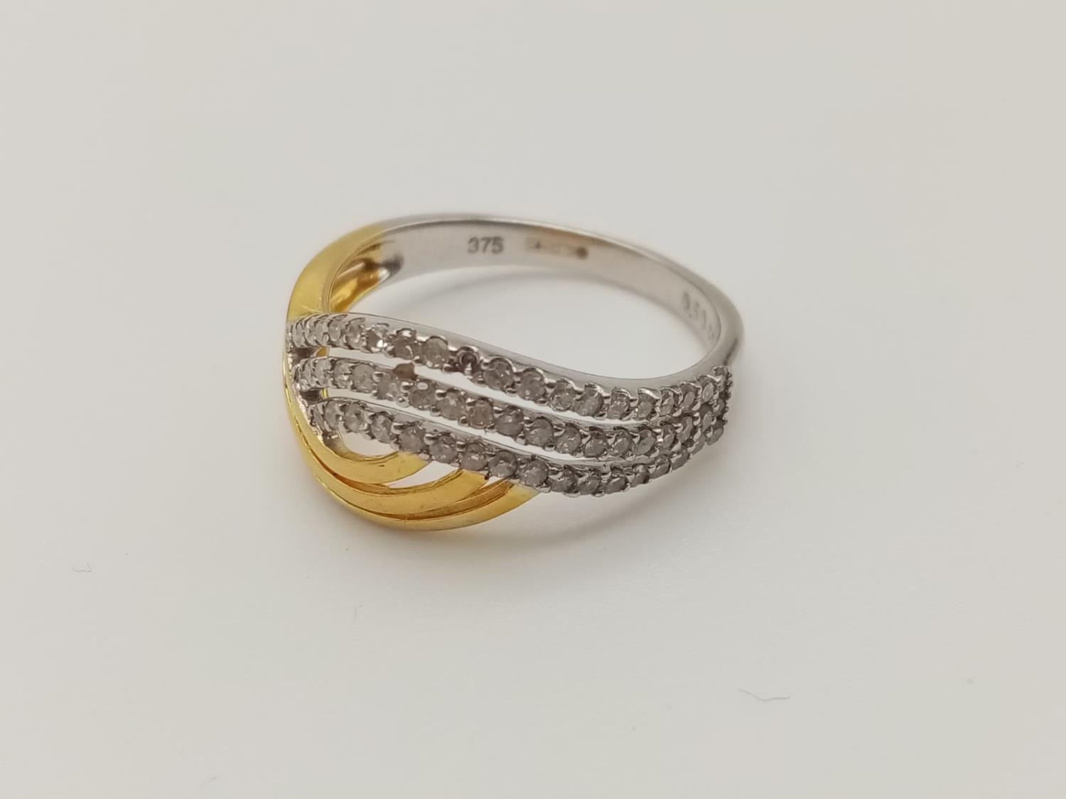 9k yellow and white gold diamond set ring with 0.50ct diamonds, weight 3.2g and size P - Image 2 of 7