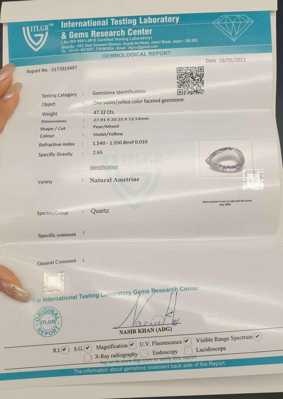 47.32 Cts Loose Ametrine gemstone. Pear shape. ITLGR certified - Image 4 of 4