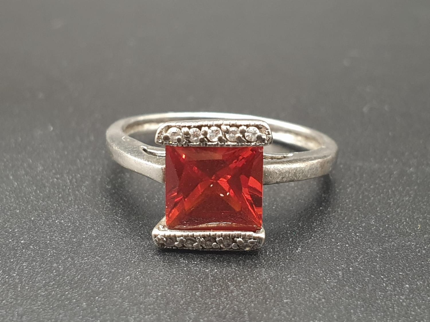 Silver Ring with centre set red stone. Size L. 2.74g