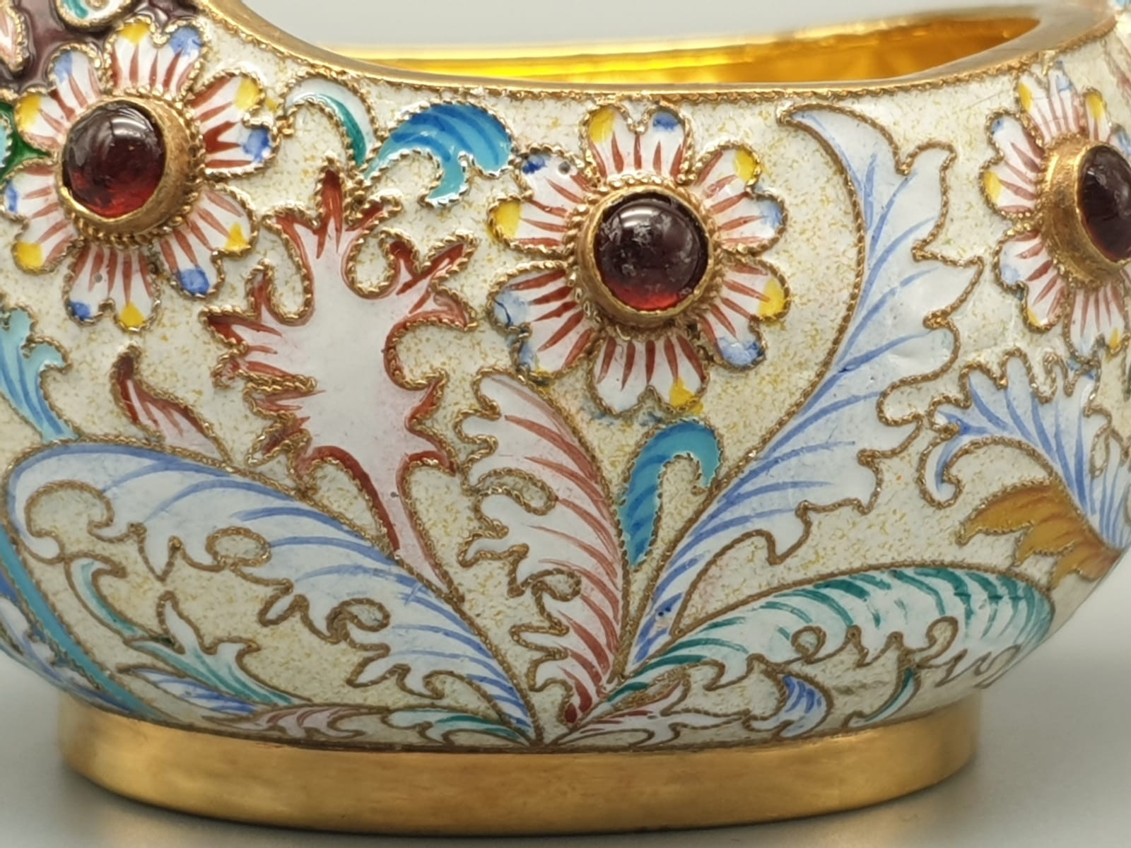 Pair of Russian 20th century silver enamel gemset kavosch bowl in the form of birds, an exquisite - Image 14 of 29
