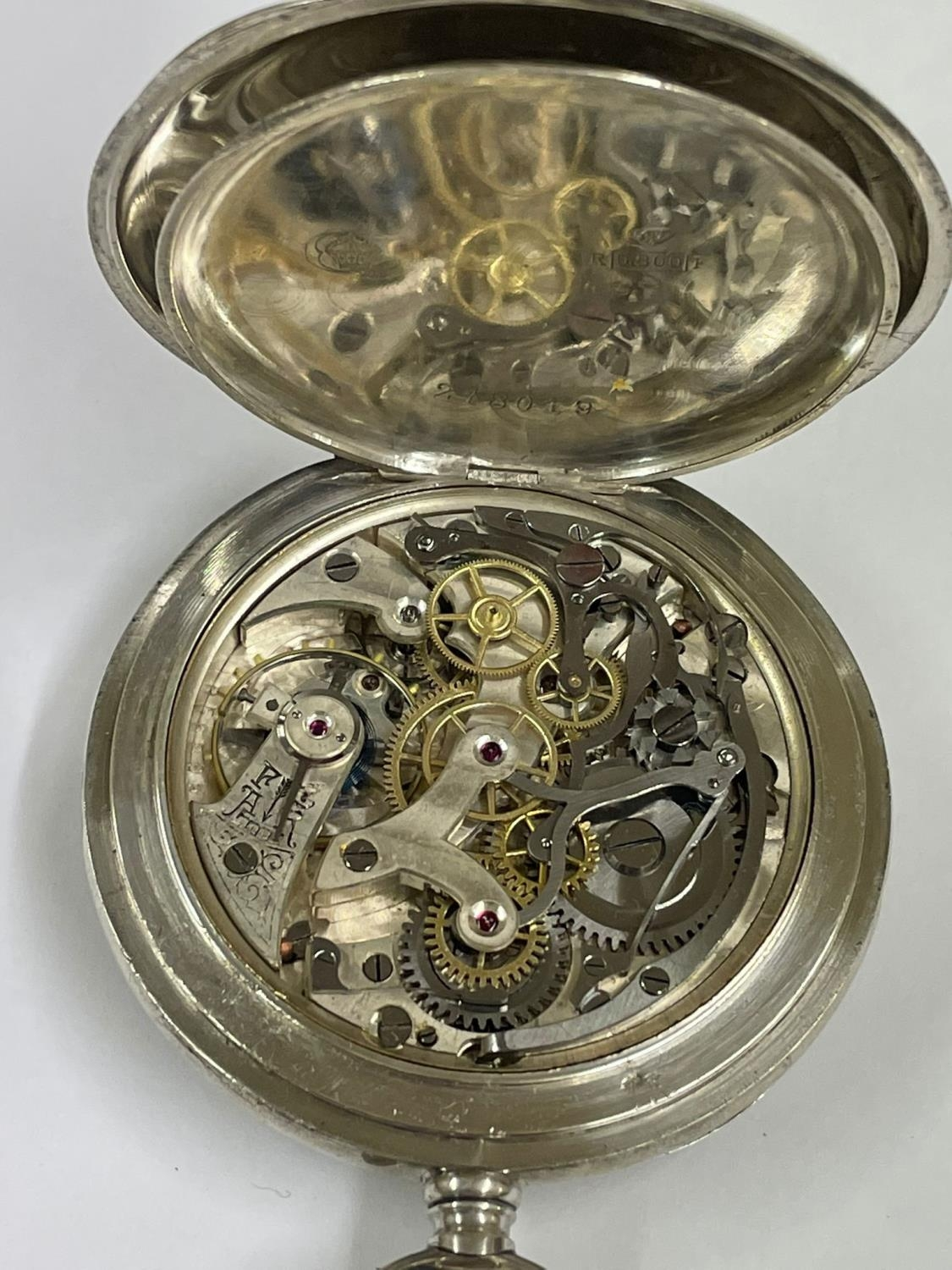 Vintage Silver Chronograph Pocket Watch. Working & Stop Function are working but sold with no - Image 5 of 6