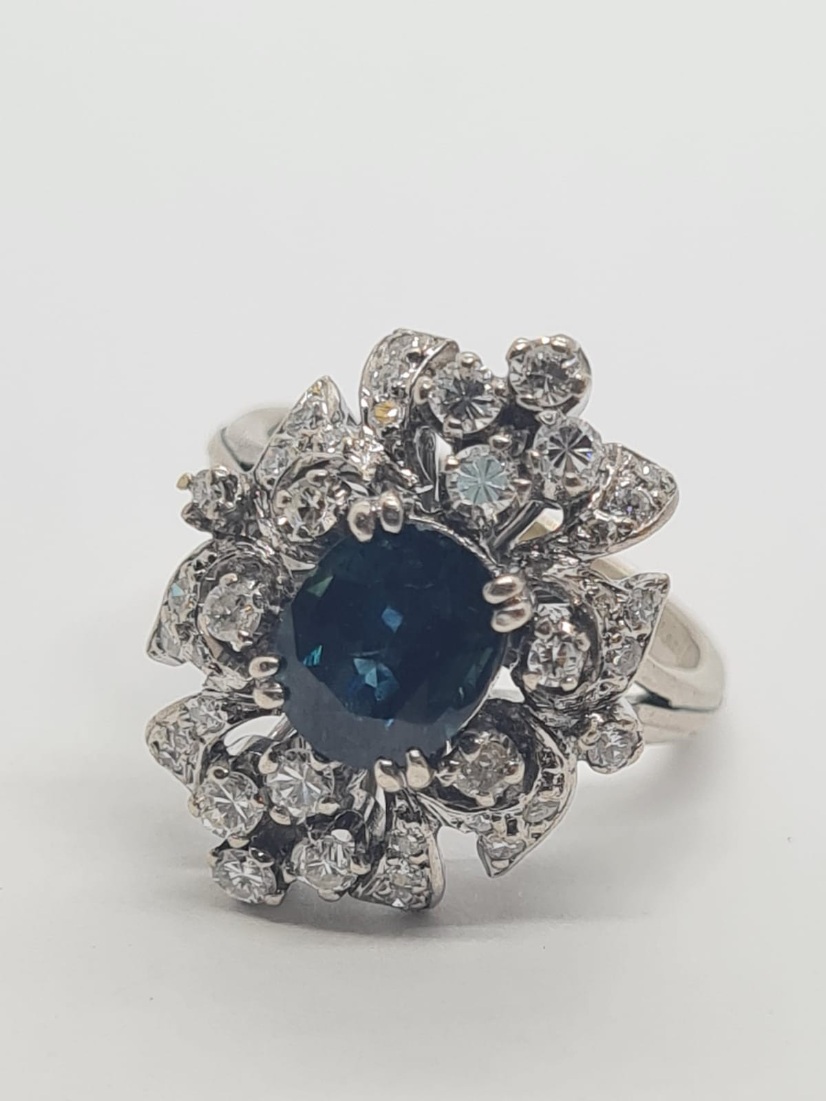 14k white gold diamond cluster ring with sapphire centre marked Tiffany & Co , weight 6.2g and - Image 6 of 7