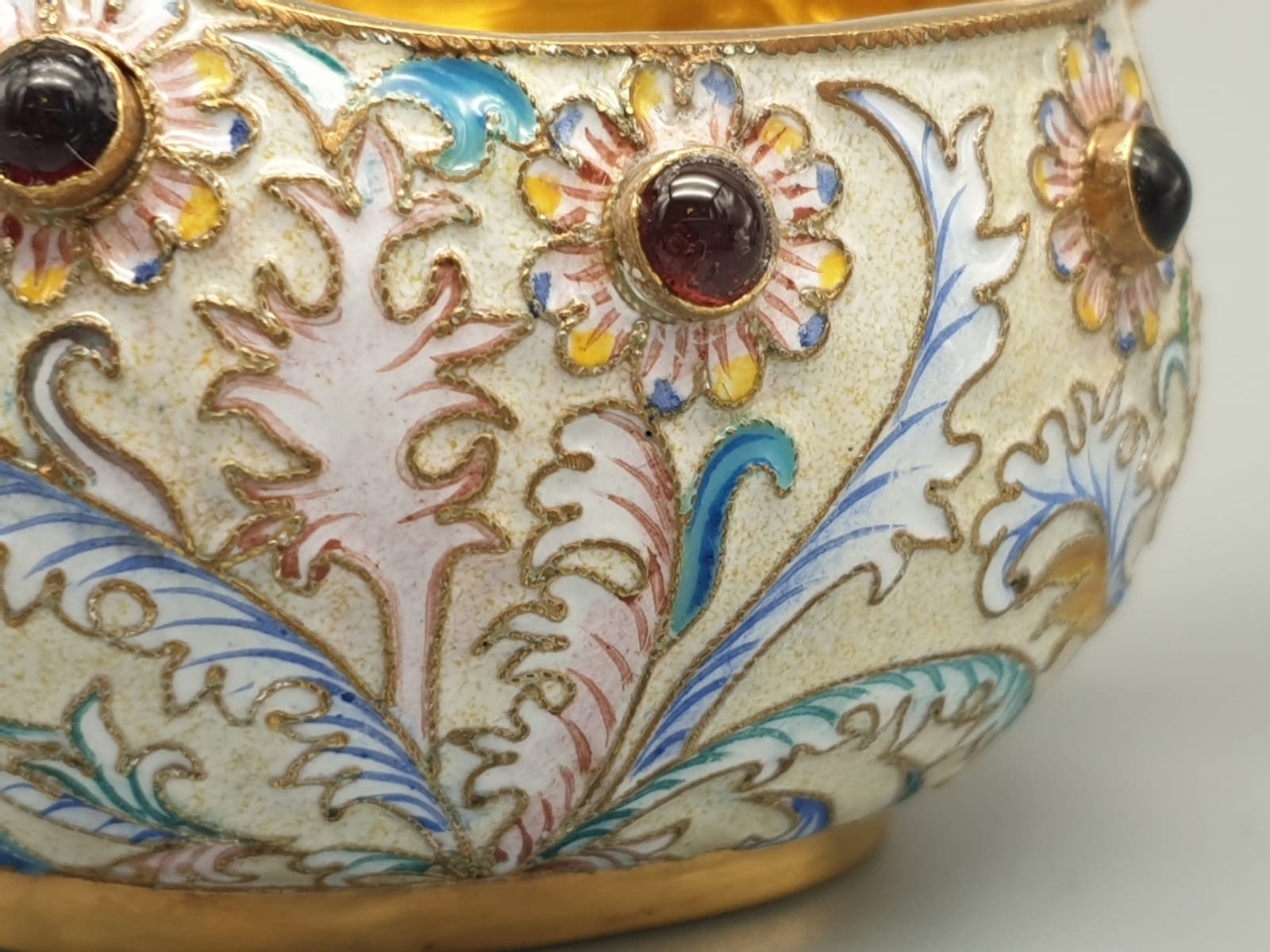 Pair of Russian 20th century silver enamel gemset kavosch bowl in the form of birds, an exquisite - Image 19 of 29