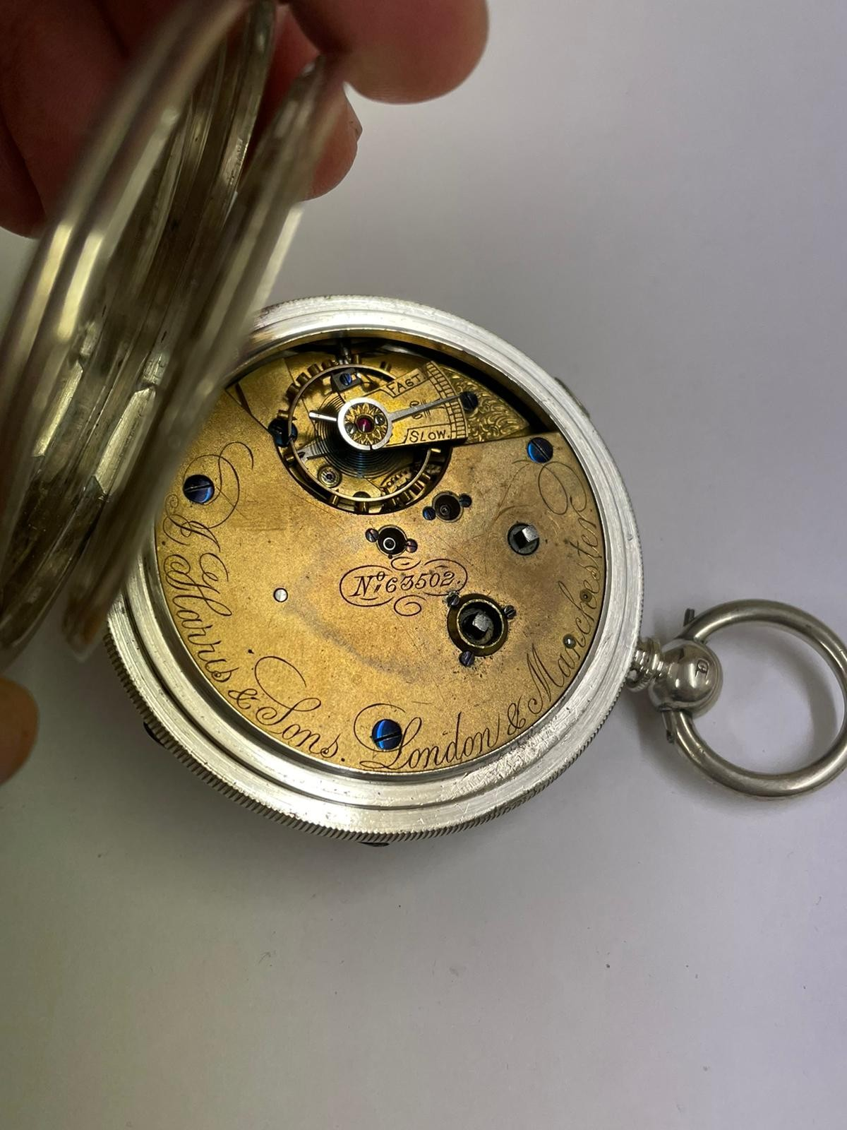 Antique Large silver stop seconds chronograph pocket watch J Harris & sons London & Manchester , - Image 6 of 10