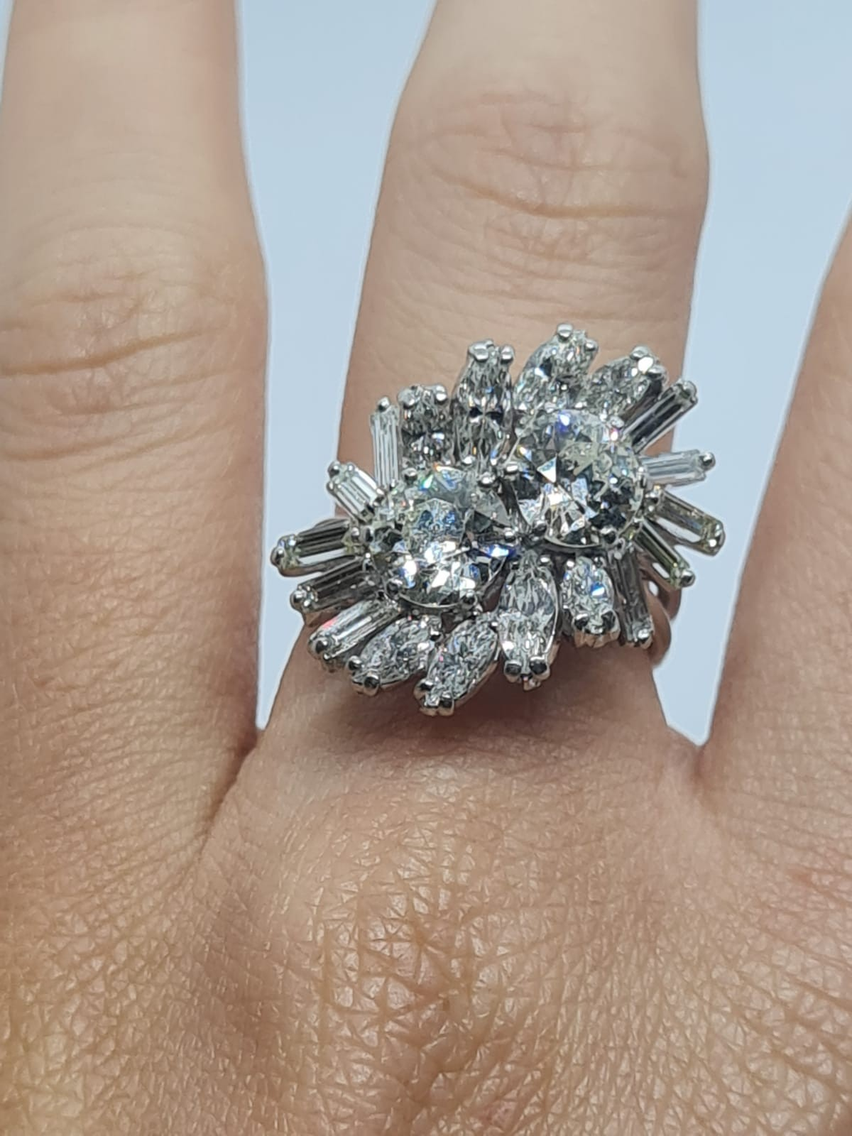 18k white gold diamond cluster ring with approx over 5ct diamonds in total, weight 10g and size M1/2 - Image 10 of 11