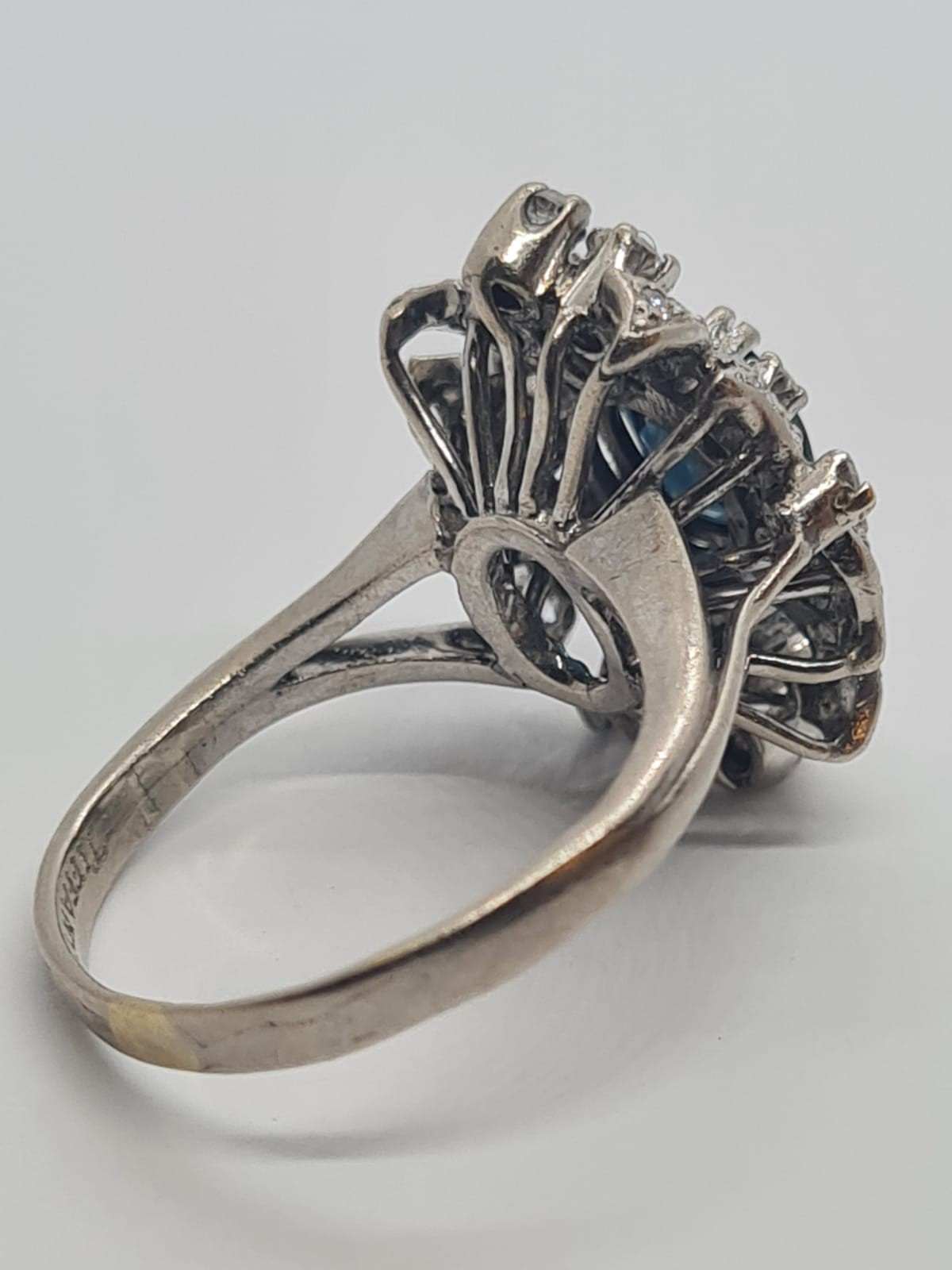 14k white gold diamond cluster ring with sapphire centre marked Tiffany & Co , weight 6.2g and - Image 3 of 7
