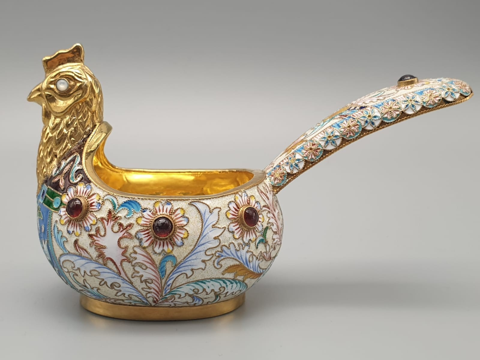 Pair of Russian 20th century silver enamel gemset kavosch bowl in the form of birds, an exquisite - Image 3 of 29