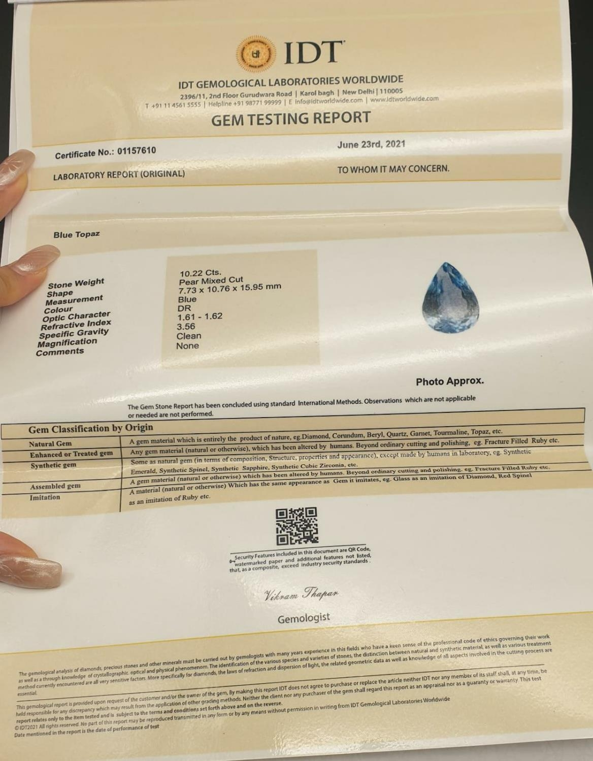 10.22 Cts Blue Topaz stone Pear shape. IDT certified - Image 4 of 4