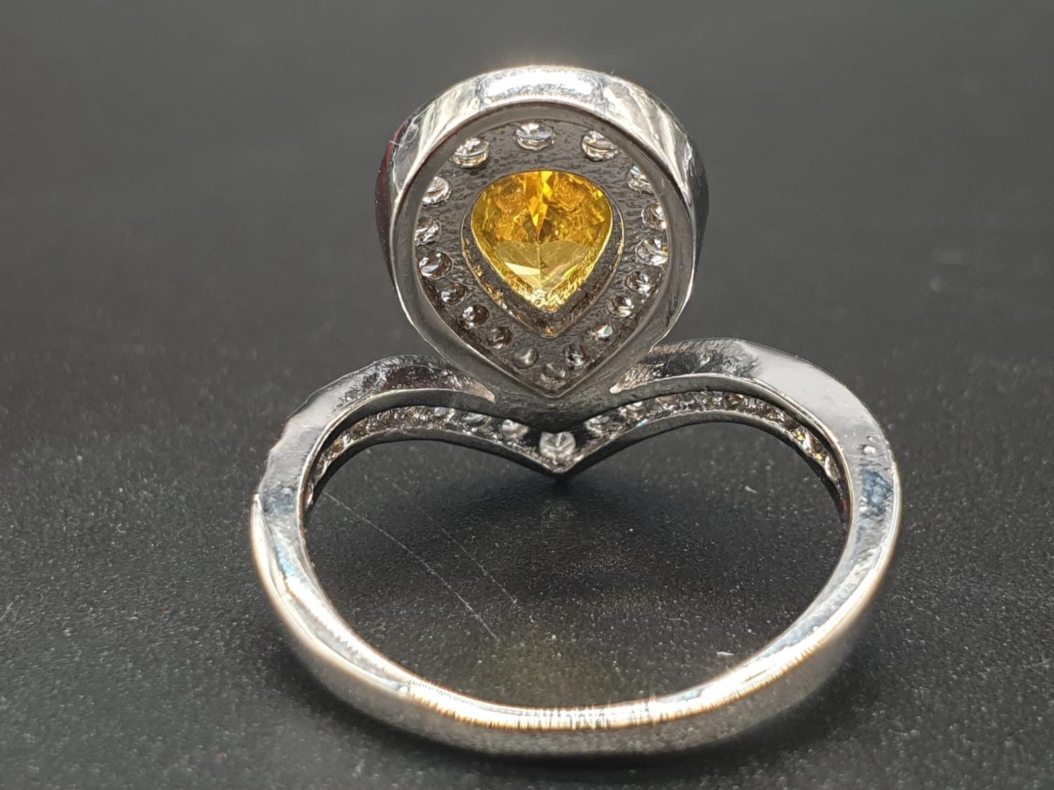 A white metal ring and earrings set with yellow topaz and clear sapphires. Ring size: N. Presented - Image 5 of 12