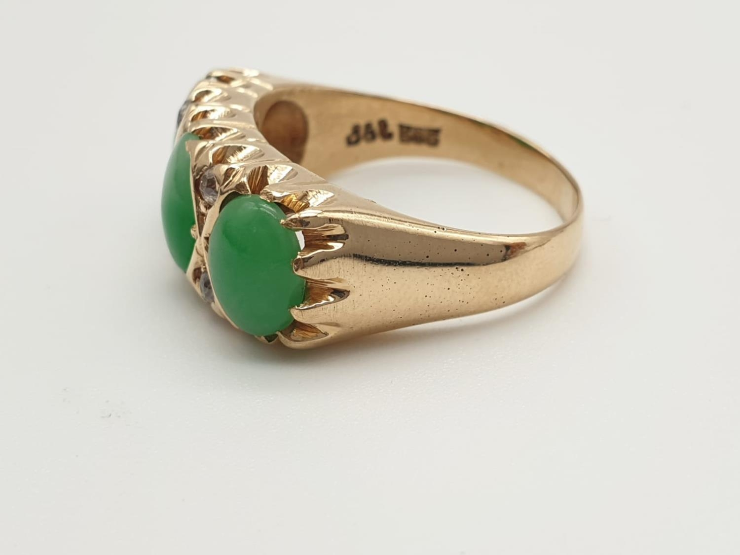 14k yellow gold antique ring with trilogy green jadeite and decorated with diamonds, weight 8.6g and - Image 2 of 6