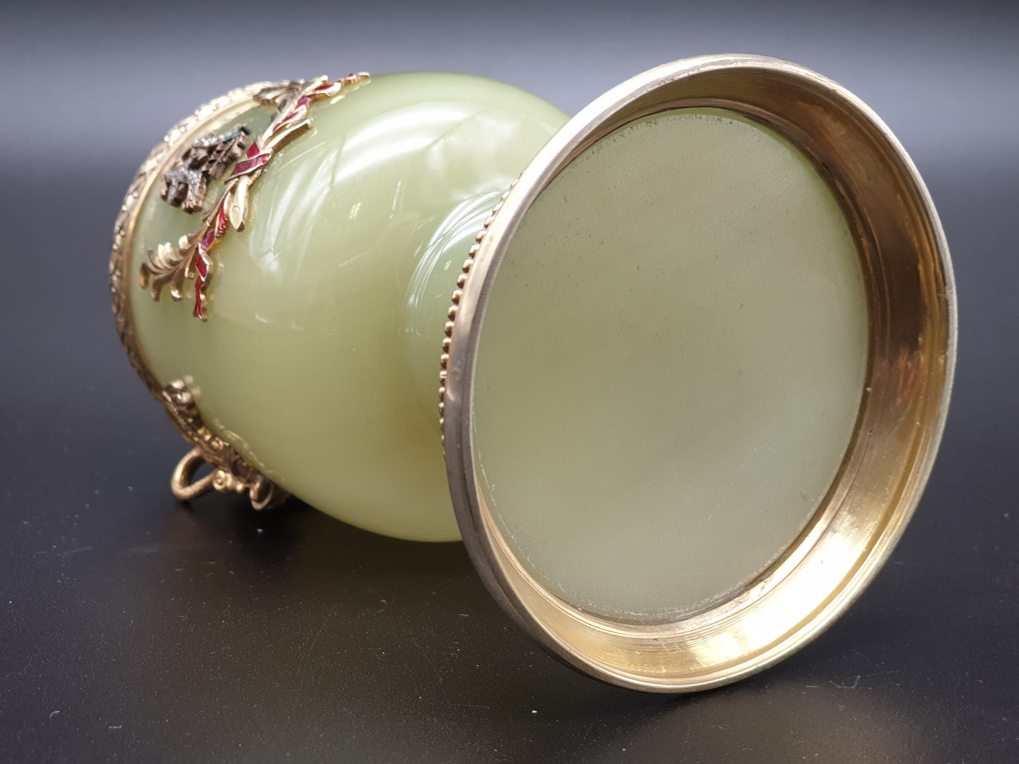 Russian silver gilt enamel diamond and jade large goblet cup in original box. 269.4gms 11cms in - Image 12 of 15