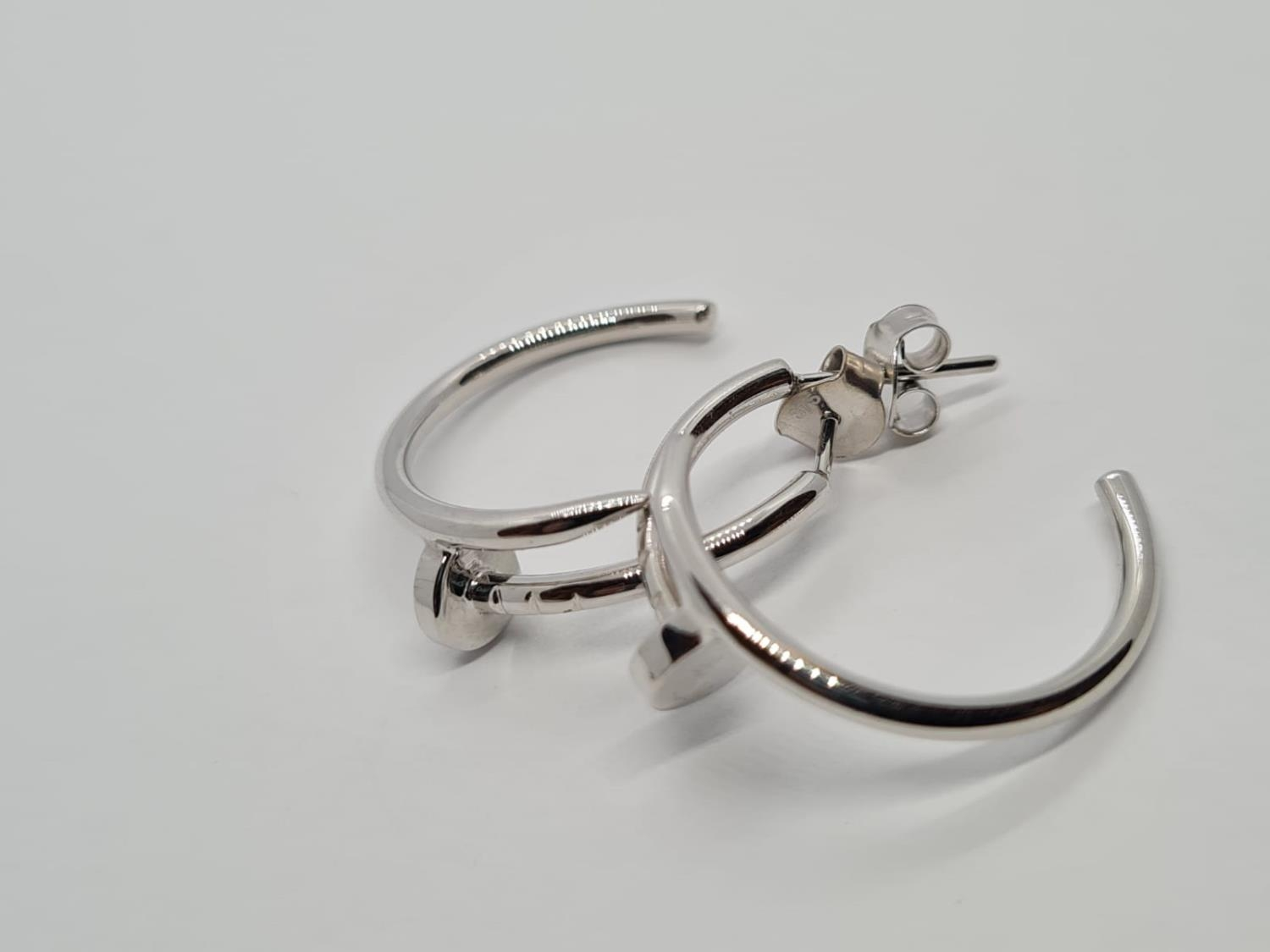 PAIR OF 9CT WHITE GOLD CARTIER STYLE EARRINGS, WEIGHT 5.5G - Image 2 of 4