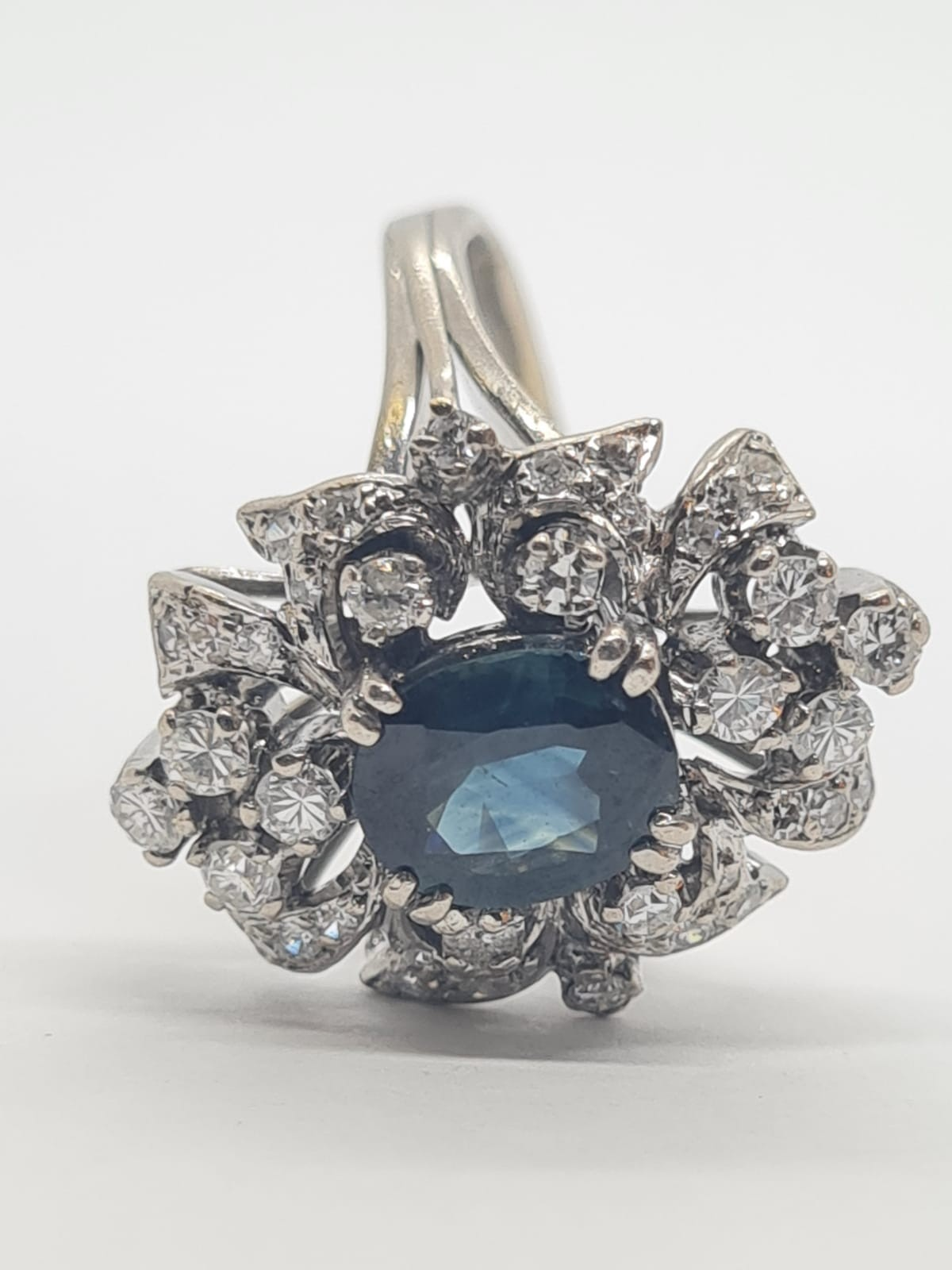 14k white gold diamond cluster ring with sapphire centre marked Tiffany & Co , weight 6.2g and - Image 5 of 7