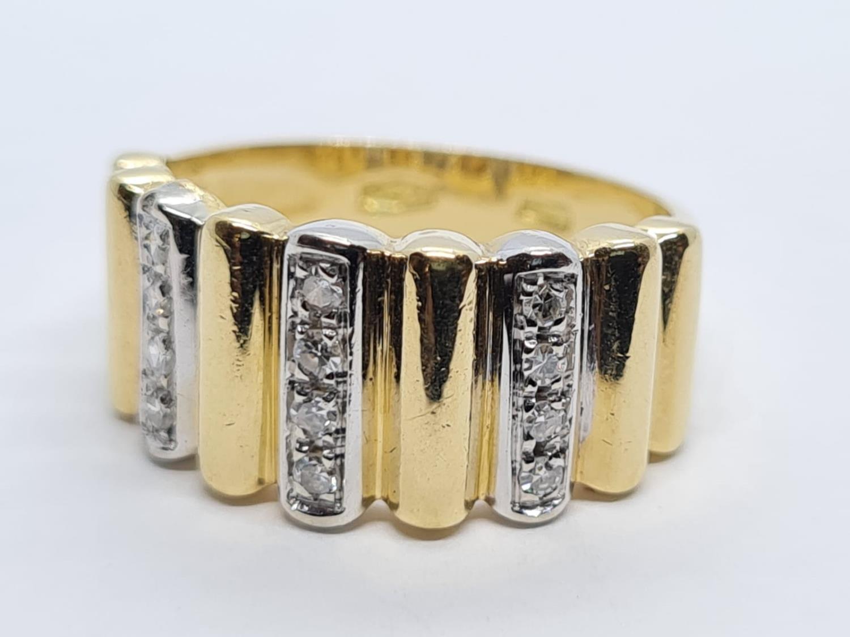 18K YELLOW DIAMOND BAND RING WEIGHT 5.5G SIZE L