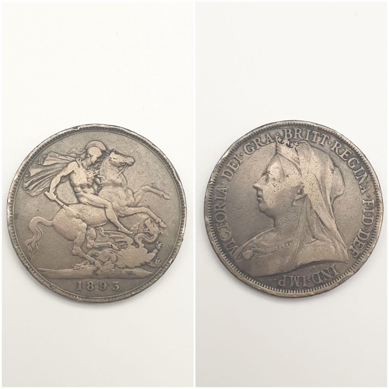 1893 VICTORIA SILVER CROWN.