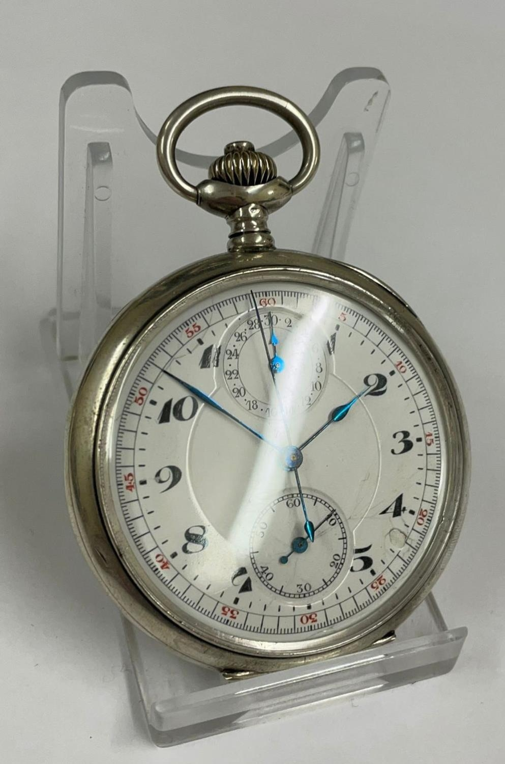Vintage Silver Chronograph Pocket Watch. Working & Stop Function are working but sold with no - Image 2 of 6