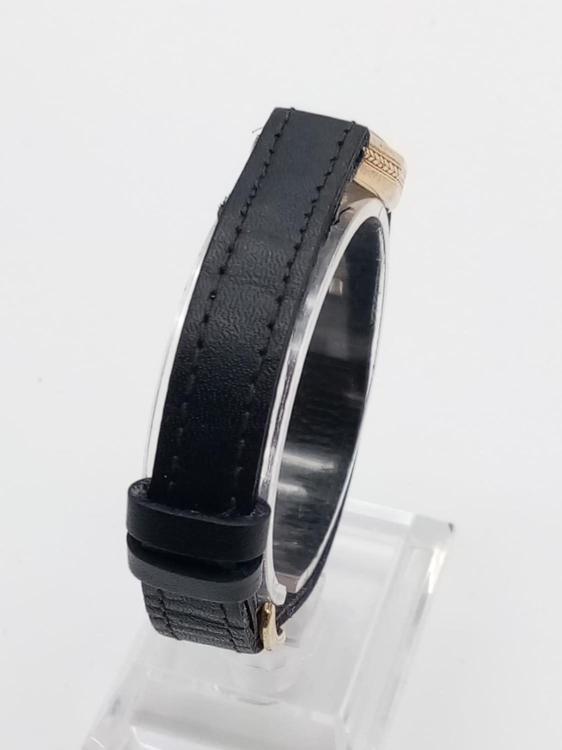 VINTAGE ROLEX 9K GOLD LADIES WRIST WATCH ON LEATHER STRAP. 16MM FWO - Image 4 of 6