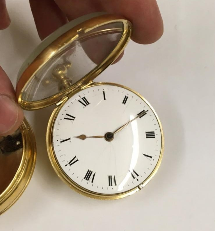 Antique gilt verge fusee pocket watch , working but sold with no garantees 147.8g - Image 3 of 12