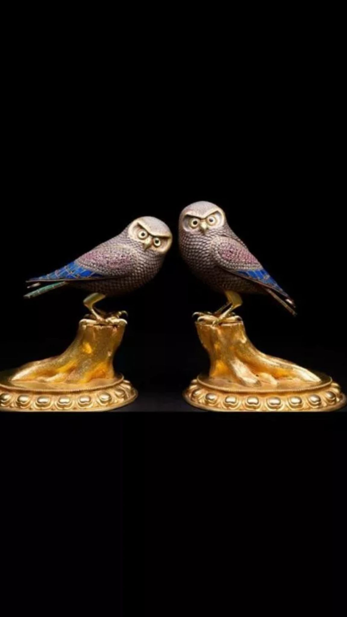 Incredible 20thC pair of beautiful silver and bronze owls set with malachite ,Lapis lazuli and - Image 2 of 5