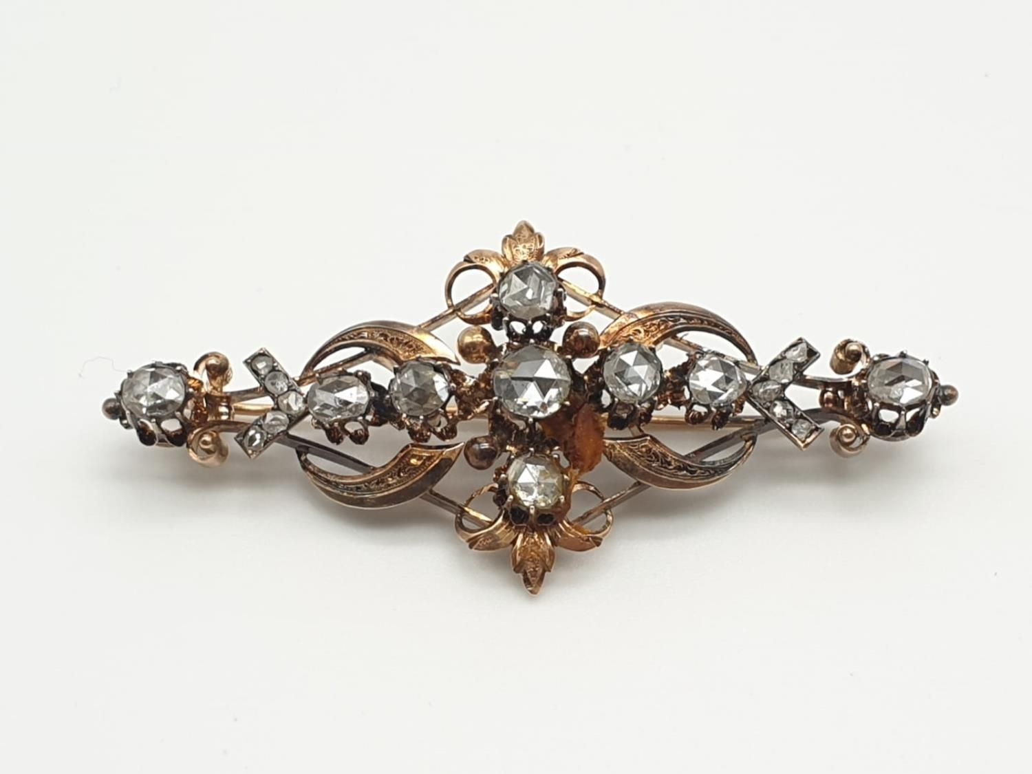 Impressive Antique Edwardian rose gold brooch with over 3ct of rose diamonds, weight 9.1g and 7cm
