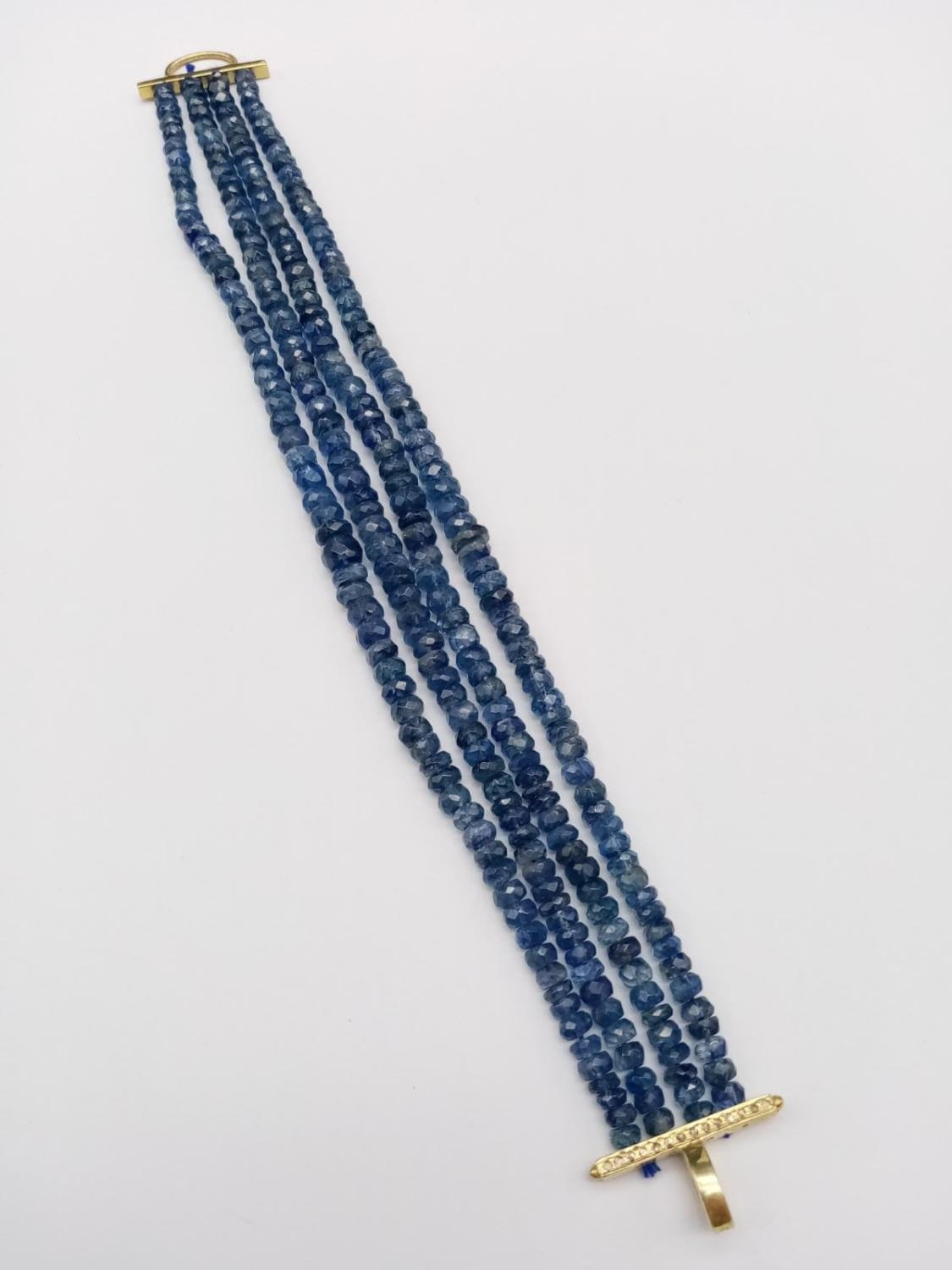 A 4 rows of Kyanite Gemstone Beads Bracelet with Gold Plated Diamond Clasp, 170cts of kyanites, 0. - Image 4 of 5