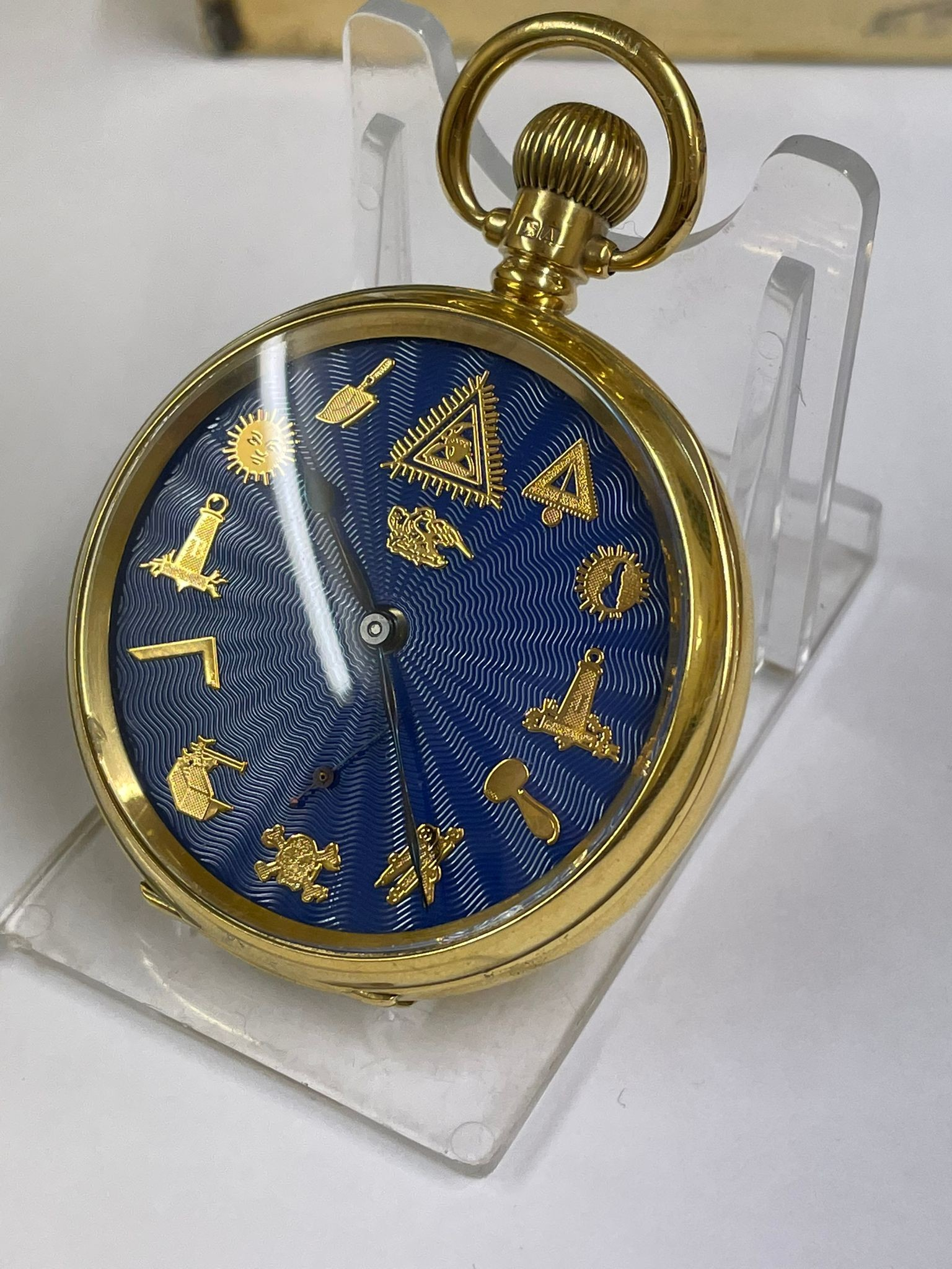 Vintage Masonic Rolex pocket watch with stand good condition and good working order but no - Image 15 of 21