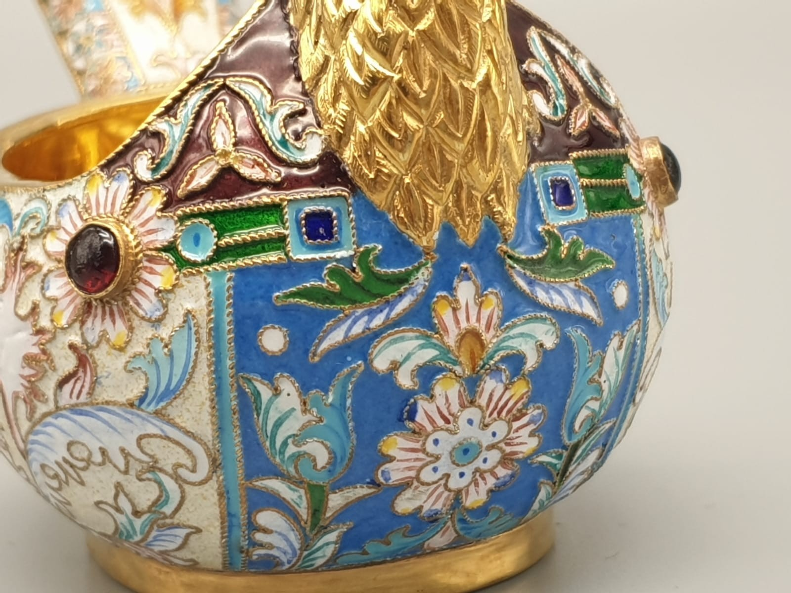 Pair of Russian 20th century silver enamel gemset kavosch bowl in the form of birds, an exquisite - Image 13 of 29