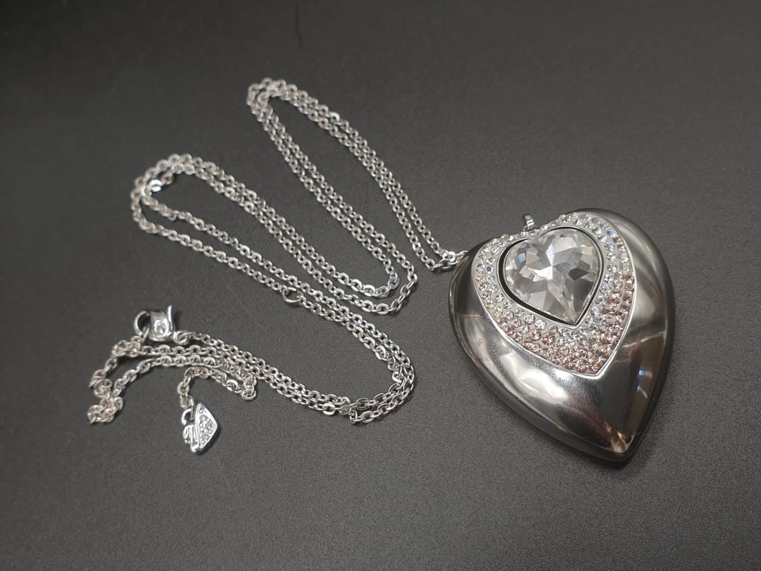 Swarovski Women's Metallic Active Crystal Heart-Shaped Pendant with built-in 8GB USB. 76cm As new, - Image 2 of 10