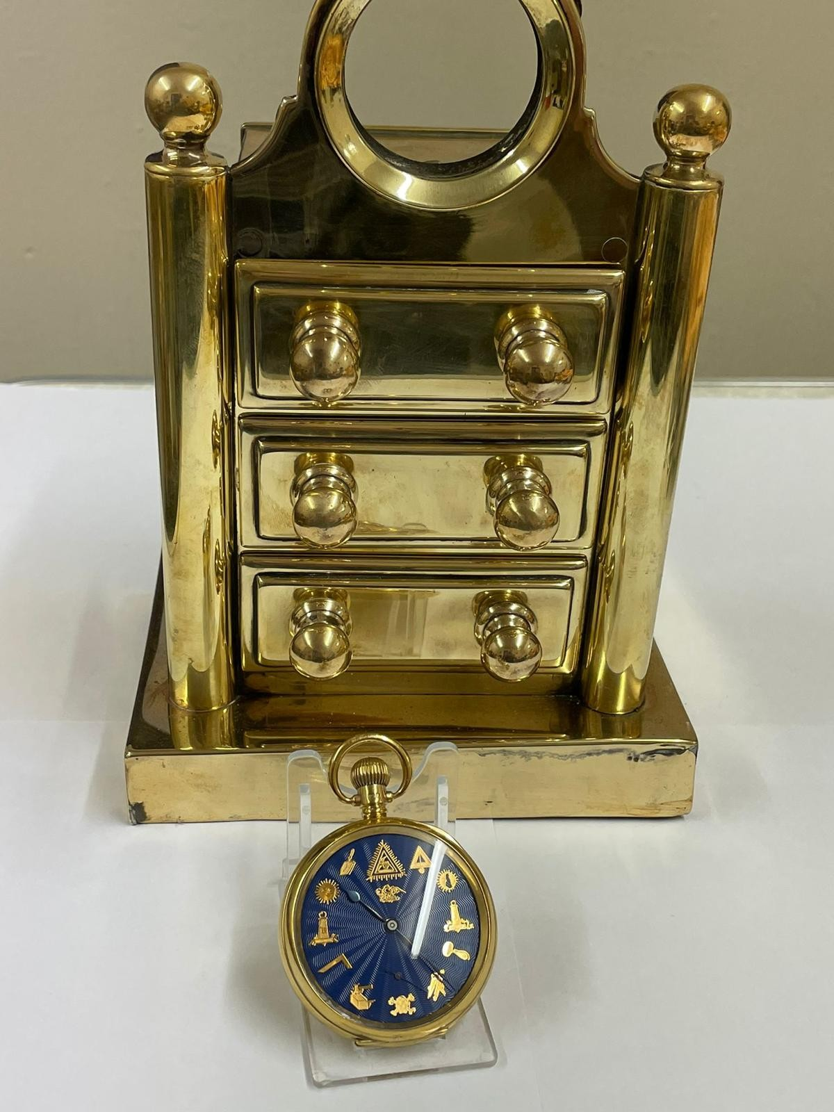 Vintage Masonic Rolex pocket watch with stand good condition and good working order but no - Image 18 of 21