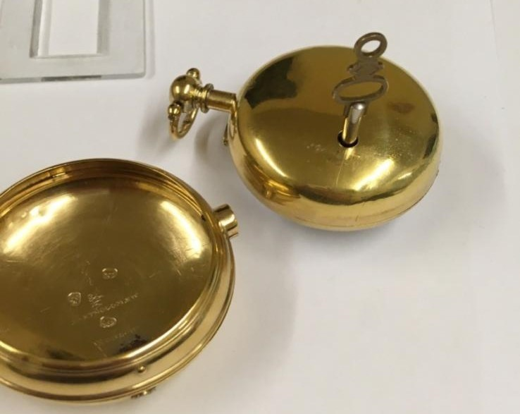 Antique gilt verge fusee pocket watch , working but sold with no garantees 147.8g - Image 9 of 12