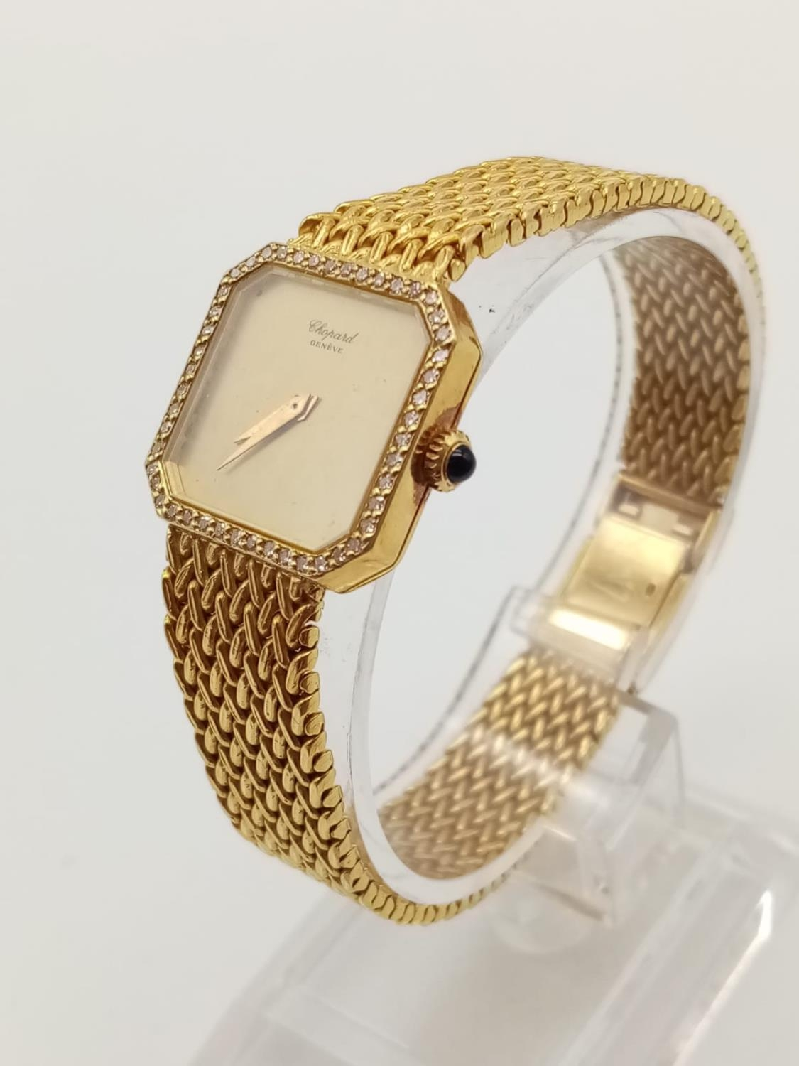 18K GOLD DRESS WATCH BY CHOPARD OF GENEVA WITH DIAMOND BEZEL AND SOLID GOLD STRAP. 20MM - Image 2 of 9