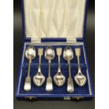 Boxed set of Six Daniel and Arter Silver Plate Spoons.