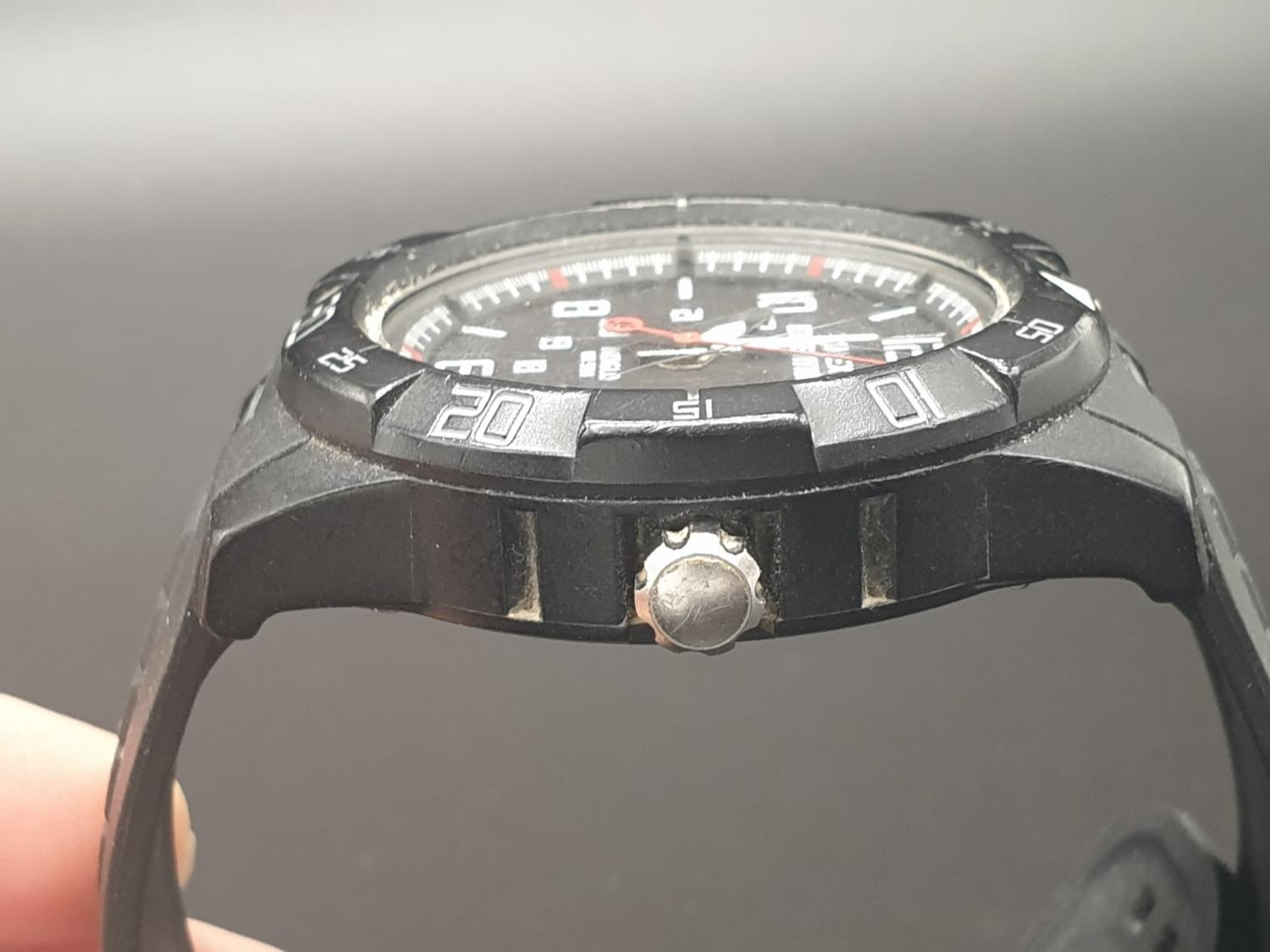 Timex Expedition Watch. Black rubber strap. Black dial. As found. - Image 9 of 9