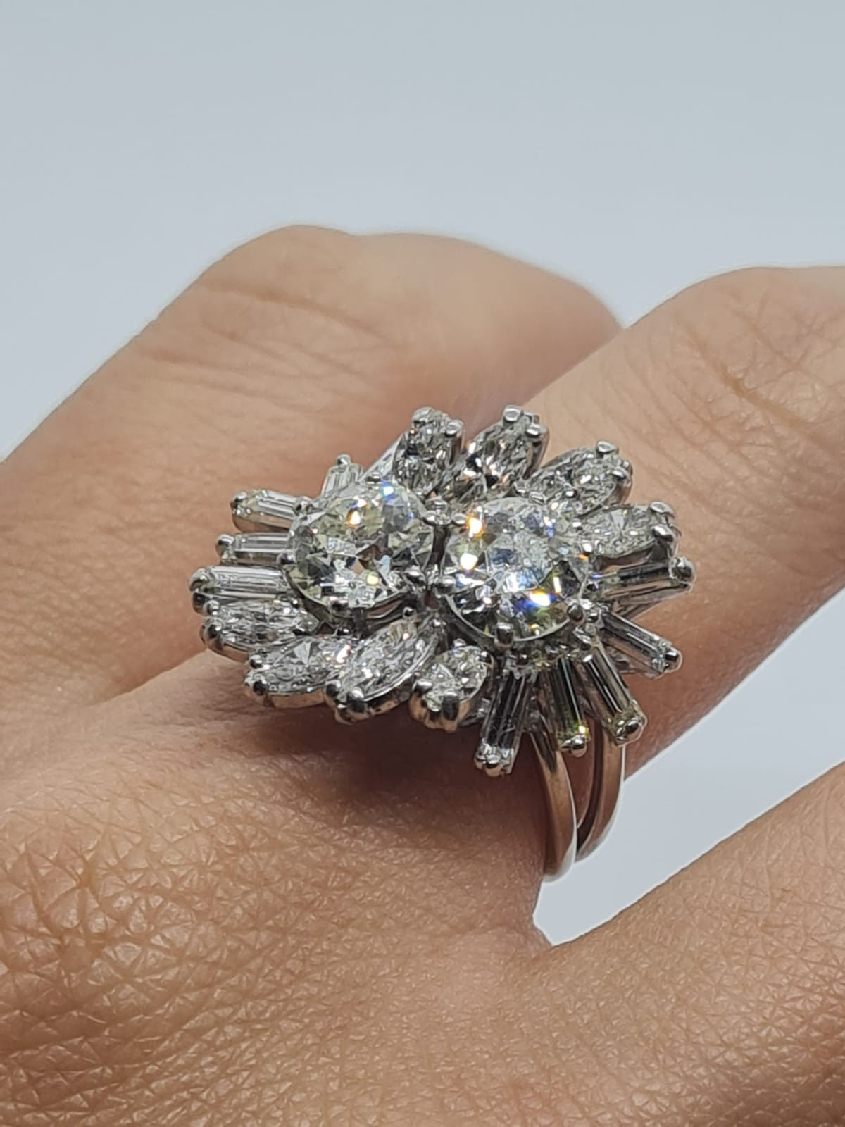 18k white gold diamond cluster ring with approx over 5ct diamonds in total, weight 10g and size M1/2 - Image 3 of 11