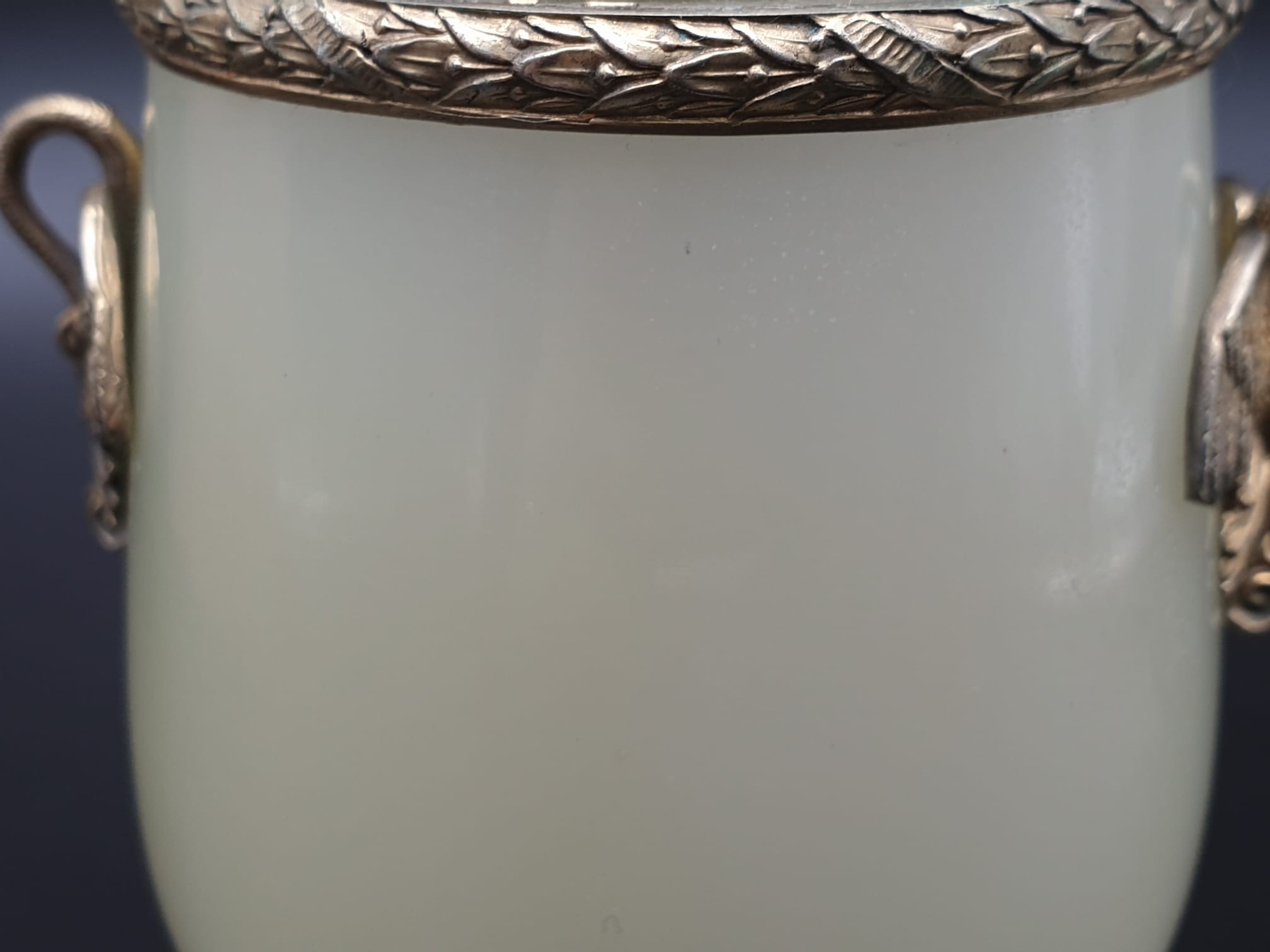 Russian silver gilt enamel diamond and jade large goblet cup in original box. 269.4gms 11cms in - Image 10 of 15