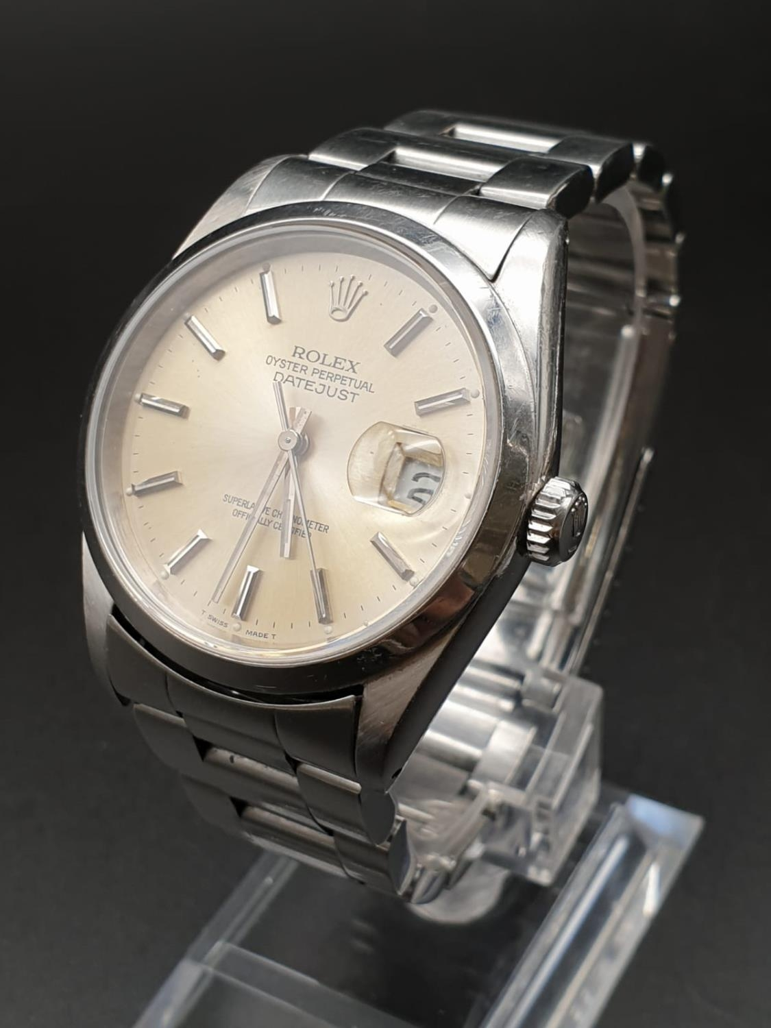 ROLEX OYSTER DATEJUST IN STAINLESS STEEL WITH ATTRACTIVE LIGHT OYSTER FACE, FWO 36MM - Image 2 of 10