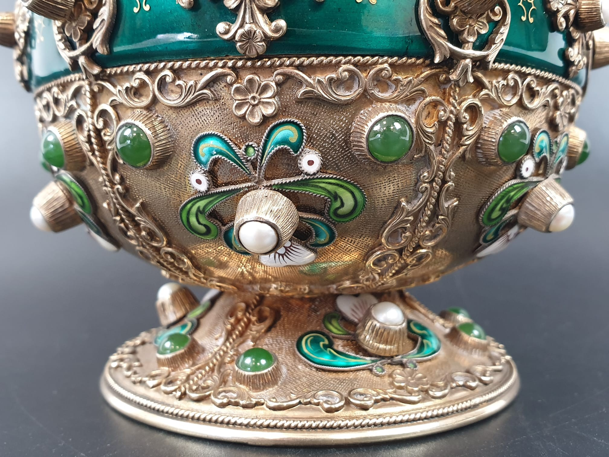 Antique Austrian silver gilt pearl and jade large jug, hand decorated and engraved . 857gms 23 cms. - Image 15 of 15