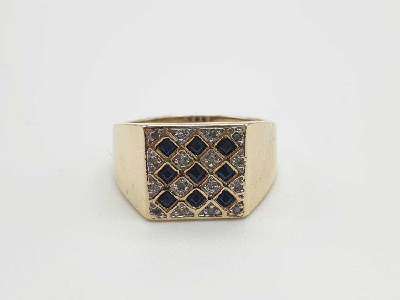 9k yellow gold DIAMOND & SAPPHIRE SQUARE SIGNET GENT RING, weight 6.5g size U