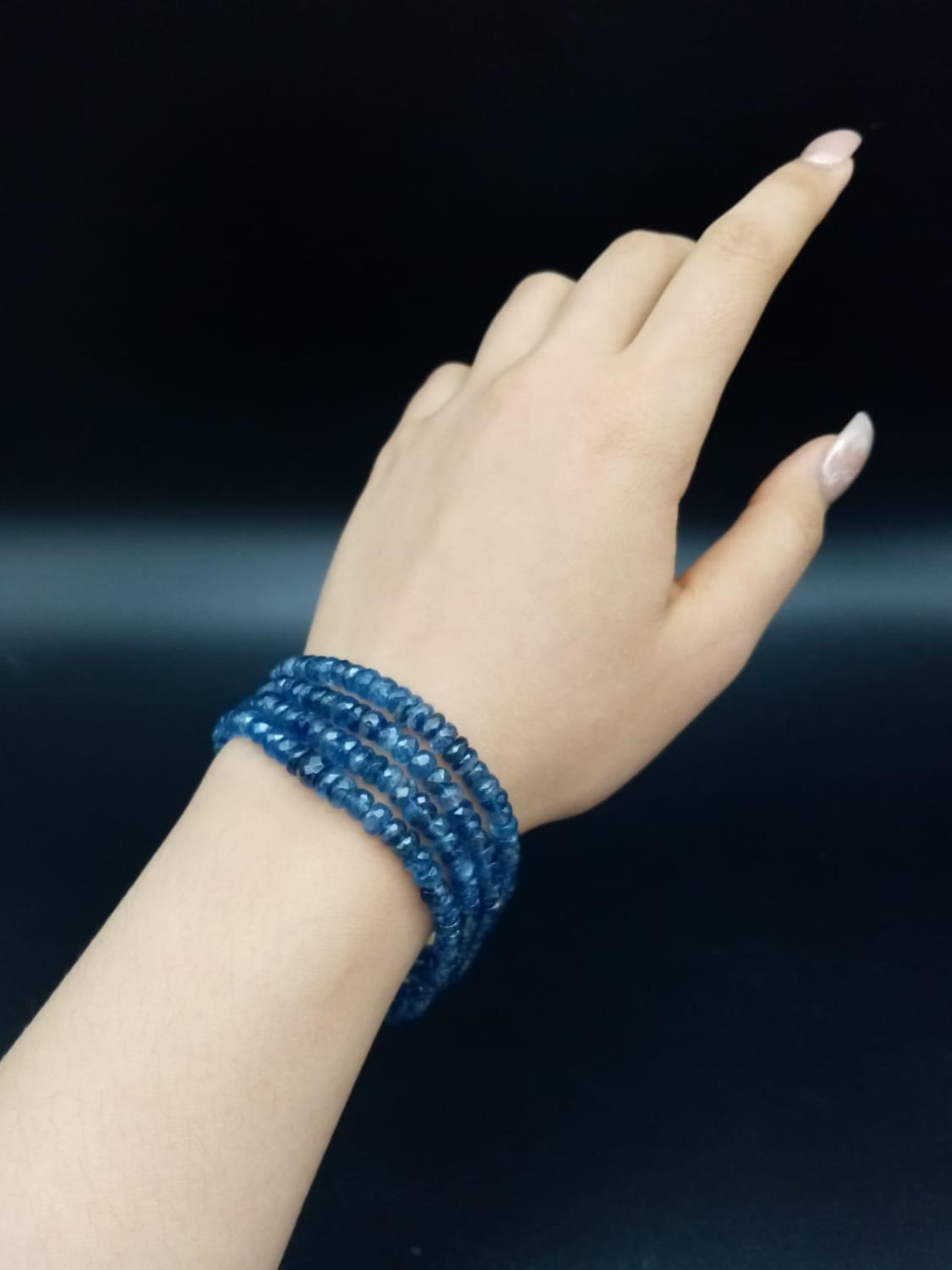 A 4 rows of Kyanite Gemstone Beads Bracelet with Gold Plated Diamond Clasp, 170cts of kyanites, 0. - Image 5 of 5