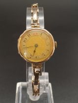Vintage, possibly Antique 9k Yellow Gold Ladies Watch. Expandable strap. Gold Dial. As Found. 18g