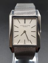 Patek Philippe 18k white gold watch with square face and solid gold strap, 32mm in very good