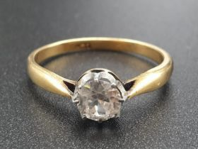 18K Yellow Gold Diamond Ring. 0.30 Carat Diamond. 3.23g total weight. Size T.
