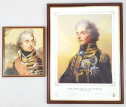 One Vintage Framed and Glazed Portrait of Lord Nelson by Sir William Beechey. 12.5 x 10.5 inches.